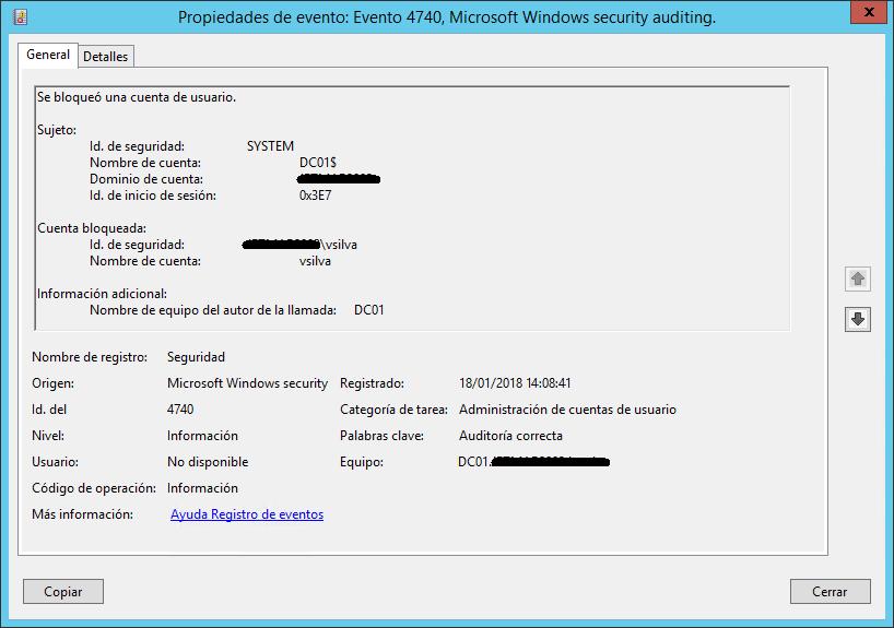 Evento de Seguridad con ID 4740 para la cuenta vsilva